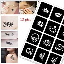 <b>12 pics Henna</b> Tattoo Stencil <b>DIY</b> Jagua Drawing Templates ...