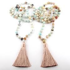 <b>Fashion Bohemian Tribal</b> Beige Tassel Yoga Jewelry Amazonite ...