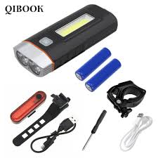 Qibook <b>Bicycle</b> Rechargeable Front Light 048+<b>tail Light 056</b> New ...