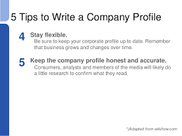 session 8 corporate identity adapted from wikihow com 14 5 tips to write a company profile