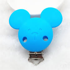 <b>Chenkai 50PCS</b> BPA Free <b>Silicone</b> Mickey Teether Clips Pacifier ...