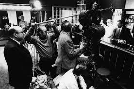 Melville, à gauche, sur le tournage du Cercle Rouge