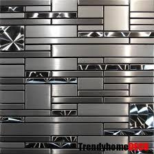 kitchen backsplash stainless steel tiles: sample stainless steel metal pattern mosaic tile kitchen backsplash wall sink