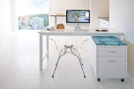 white lacquer desk home office contemporary with cabinets chic city view image by moya living chic home office white