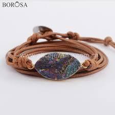<b>BOROSA 5PCS</b> Rope Bracelet Oval <b>Gold</b> Color Rainbow Titanium ...