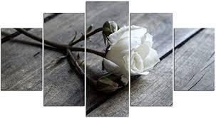 YSDAFEN-White Rose Large Modern 5 Panels Giclee ... - Amazon.com