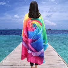 Honana WX-89 147cm 3D Simulation Rose Beach Towel Romantic ...