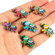 10x Enamel Elephant <b>Connectors</b> For Jewelry Making Bracelet ...