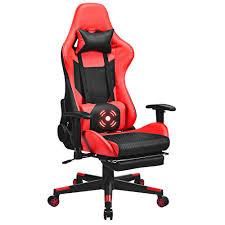Costway Red Massage <b>Gaming Chair</b> Upholstery <b>Reclining</b> Racing ...