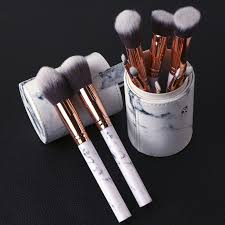<b>10Pcs Women</b> Fashion <b>Makeup Brush</b> Marble Flour Foundation ...