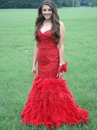 <b>Sexy Red Mermaid</b> Evening Dress 2-16 Sweetheart Beadings Fur ...