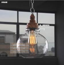 bar retro glass light american country loft style industrial lamp dining room kitchen wooden pendant light american country loft style