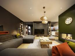 space living room olive: pops associated with unexpected orange colored in sofas and wall space add ambiance while gentle wood is situated calm in the bookcase ground and main