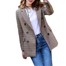 <b>2018 New Spring</b> Autumn Fashion Plaid Blazer <b>Casual</b> Suit Women ...