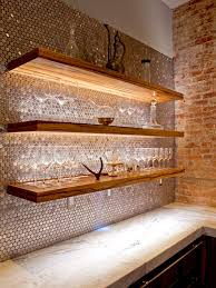 backsplash medallion metal travertine kitchen