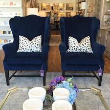 navy blue trellis wing chair