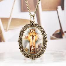 <b>Bronze</b> Vintage <b>Pocket Watch</b> Exquisite Jesus Cross Pattern <b>Oval</b> ...