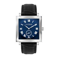 CARREE Men's watch - Square case, sunray dial, leather strap