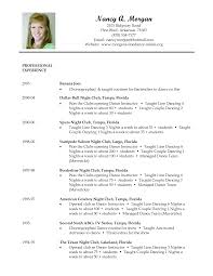 resume  example of a dance resume  moresume coresume
