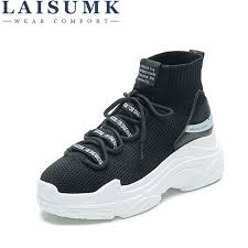 <b>LAISUMK</b> Shark Logo High Top Sneakers <b>Women</b> Knit Upper ...