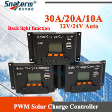 Back light function <b>30A 20A 10A 12V</b>/<b>24V Auto</b> PWM Solar Charge ...