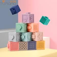 Tumama 12pcs/<b>set</b> Baby Grasp Toy Building Blocks <b>3D Touch</b> Hand ...