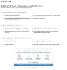 quiz worksheet effective leadership qualities com print qualities of effective leadership worksheet