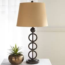 red swirl table lamp