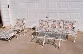 mid century wrought iron patio furniture set woodard 3pc sectional sofa chair 4 vintage antique rod iron patio