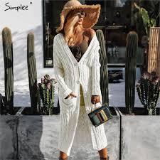Online Shop Simplee <b>Women knitted</b> long <b>cardigan</b> Winter 2018 ...
