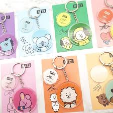 <b>1PCS</b> KPOP Idol Keychain BTS BT21 <b>Cartoon</b> Party Key Chains ...