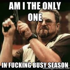 Am I the only one IN FUCKING BUSY SEASON - am i the only one ... via Relatably.com