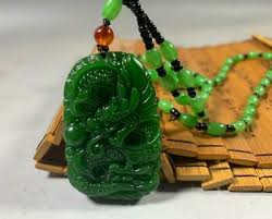 Natural Green Hand-carved Chinese <b>Hetian Jade Pendant</b> - Dragon ...