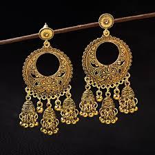 2019 <b>TopHanqi Jhumka</b> Jewelry <b>Boho</b> Ethnic Gold Flower Carved ...