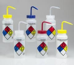 Assorted, Safety-Labeled, <b>4</b>-<b>Color</b>, <b>500mL</b> Wide-Mouth Wash Bottles ...