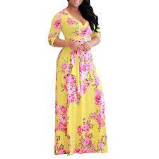 Plus size <b>S 5XL</b> Elegant Women <b>Robe Summer</b> Printed <b>Maxi Dress</b> ...