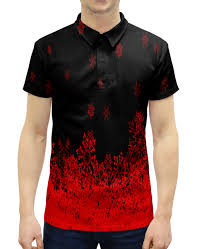 """Рубашка Поло с полной запечаткой """"Красные <b>снежинки</b> ..."""