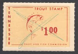 from girlie pulps to trout stamps part four waterfowl stamps this is the sample 1955 56 trout stamp that was sent to worth ex carnahan archive note the stamp is not dated