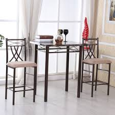 three piece dining set: marble look bronze  piece dining set
