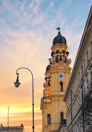 View Theatiner Church Old Town Munich Odeonsplatz <b>Sunset</b> ...