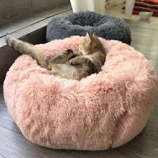 <b>Long</b> Plush Super Soft <b>Pet Bed</b> Kennel Dog Round <b>Cat</b> Winter Warm ...