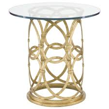 antonia hollywood regency round gold metal side end table  kathy