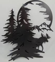 tree scene metal wall art:  trees moon scene wall hanging wall zoom