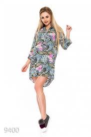 Легкое серое платье-<b>рубашка с принтом</b> индийских <b>огурцов</b> 6486 ...