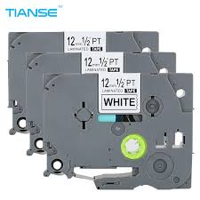 tianse 3pcs tze231 tz231 black on white for brother p touch printer label tape tze 231 tz 231 12mm tz tze 231 laminated ribbons