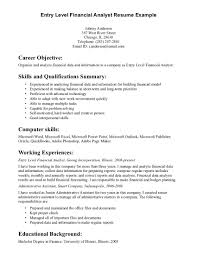 sample entry level it resume template resume sample information resume template example for entry level financial analyst working experience