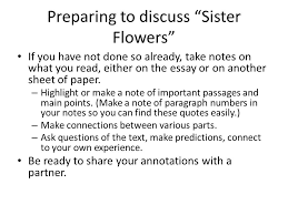 """literacy narrative examples """"sister flowers """" """"only daughter"""" and    preparing to discuss """"sister flowers"""" if you have not done so already  take"""