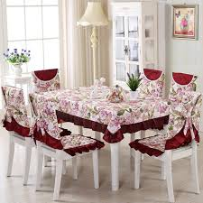 rectangular dining table cover cloth knitted vintage: vintage polyester tablecloth pcs set floral embroidery crocheted table clothes chair cover home wedding decoration
