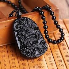 <b>Fashion</b> Natural <b>Obsidian</b> Black Chinese Dragon <b>Pendant Necklace</b> ...