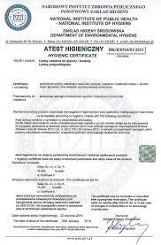 salag hygienic certificate for pvc metal trims